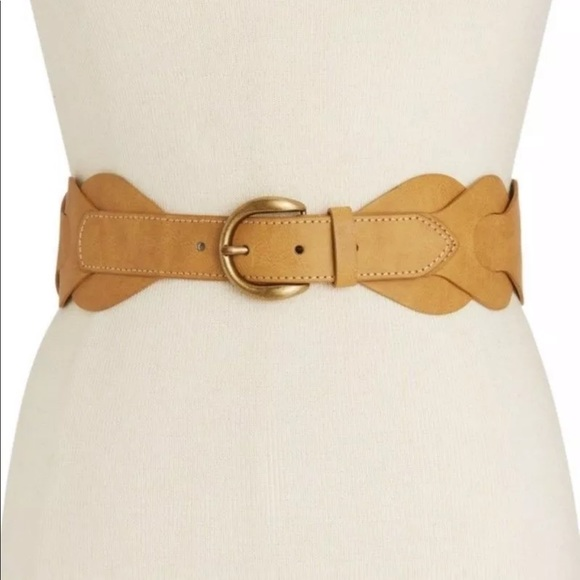 INC Womens Perforated Flowers Belt White Size Large L NWT